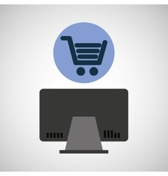 Computer device online shopping network icon vector