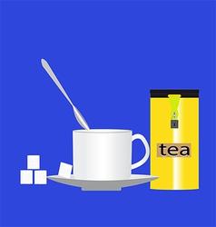 Cup of tea with sugar vector