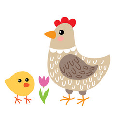 cute cartoon hen and chicken vector image vector image