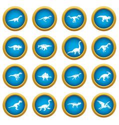 Dinosaur icons blue circle set vector