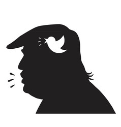 Donald trump silhouette and social media icon vector