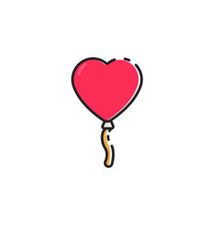 flat color love balloon icon vector image vector image