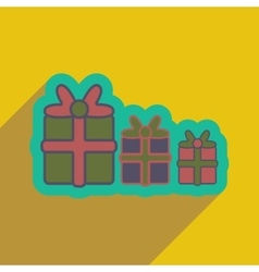 Flat icon with long shadow christmas presents vector