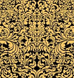 Gold floral art pattern on black vector