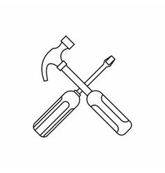 Hammer and screwdriver icon outline style vector