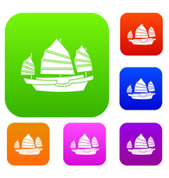 Junk boat set color collection vector