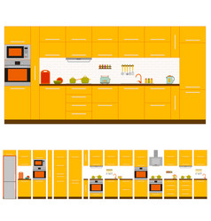 Kitchen interior design set vector