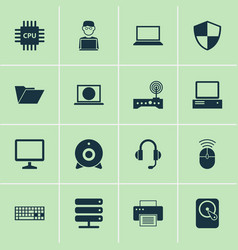 Laptop icons set collection of defense database vector