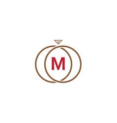 m letter ring diamond logo vector image