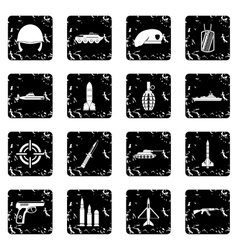 Military set icons grunge style vector
