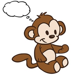 Monkey with thought bubble vector