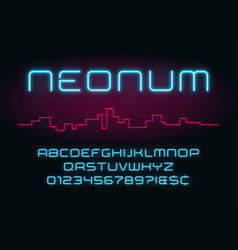neon light alphabet realistic extra glowing vector image vector image