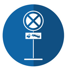 No parking road sign crane car shadow vector
