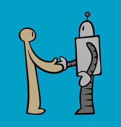 robot and human handshake vector image