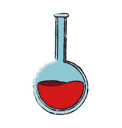 Round bottom flask with red liquid icon image vector