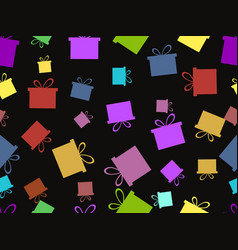 Seamless pattern with gift boxes multicolor vector