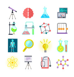 Set of colorful science icons vector