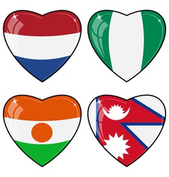 Set of images of hearts with the flags of Nepal vector image