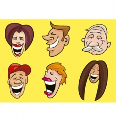 set of smiling faces vector image