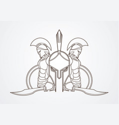 spartan warriors with sword and shield roman army vector image vector image