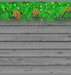 Spruce snow gray wooden background vector