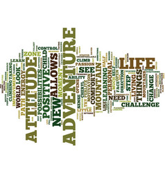 The adventure attitude text background word cloud vector