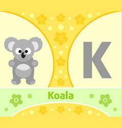 The english alphabet with koala vector