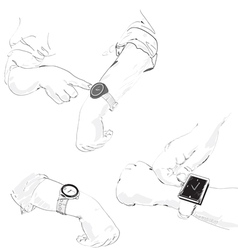 watch on the hands vector image vector image