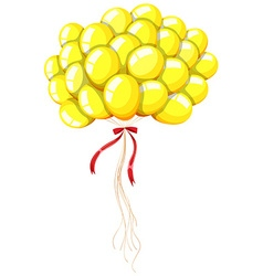 Yellow balloons floating in the air vector image vector image