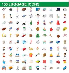 100 luggage icons set cartoon style vector image
