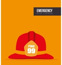 red helmet fireman protection vector image