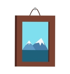 Picture in frame hanging on the wall vector