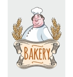 Chef baker label vector image