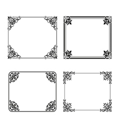 square frame labels Set ornamental vintage vector image