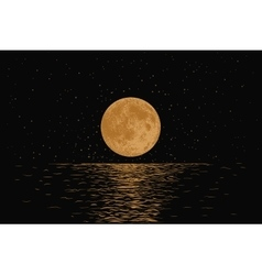 Orange moon reflecting in a sea vector image