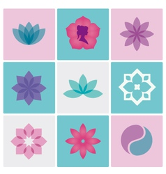 Logo spa flowers vector