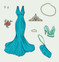 Fashion set in hand drawing style vector