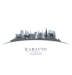 Karachi pakistan city skyline silhouette white vector