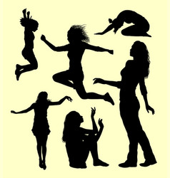 Female gesture action silhouette vector