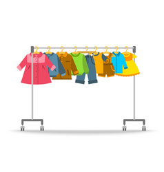 Kids clothes hanging on hanger rack vector