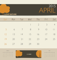 2015 calendar monthly calendar template for April vector image vector image