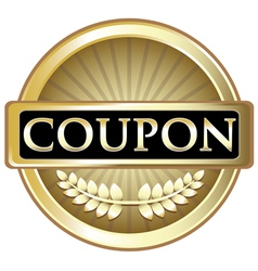 Coupon gold label vector