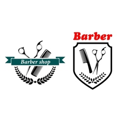 Barber shop emblems or labels vector