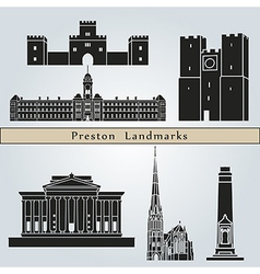 Preston landmarks and monuments vector