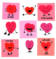 Valentines day hearts cartoon characters vector