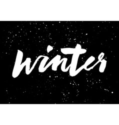 Winter calligraphy hand lettering brush black vector