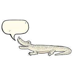 Cartoon happy crocodile with speech bubble vector