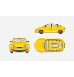 Sedan car top front side view vector