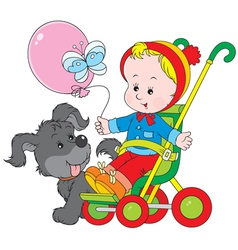 Toddler in a stroller and funny pup vector