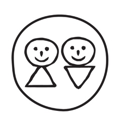 Doodle man and woman icon vector